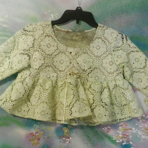 OOAK Vtg custom Tdye tatted lace flounced crop top